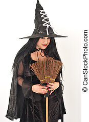 Witch with big hat - Witch in oversized hat with Broomstick