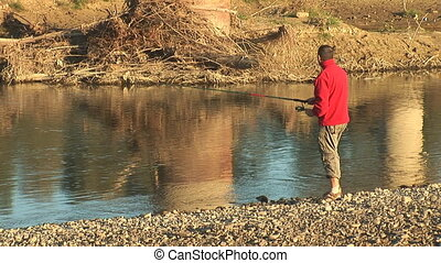 fisher 11 - Morning fishing on the river river Prut, Ukraine...