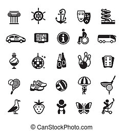 Signs. Vacation, Travel & Recreation. Fourth set icons in...