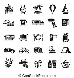 Signs. Vacation, Travel & Recreation. Second set icons in...