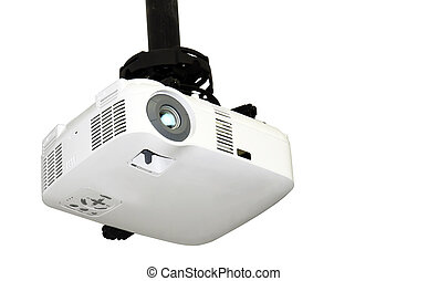 Ceiling projector isolated on white - Close-up of a...