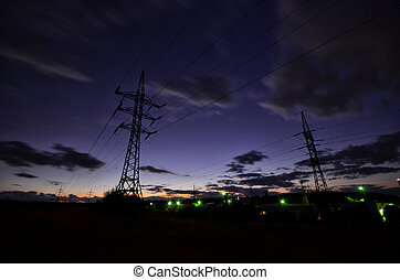 electric line - High voltage electric line in sunset