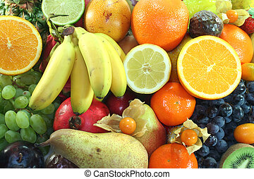 Fruit Mix - Mix of native and exotic fruits on a white...