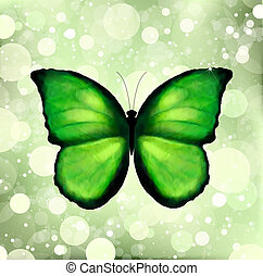 Green color enhanced butterfly Vector - Green color enhanced...