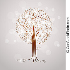Vintage abstract tree drawing made from oak leafs and white...