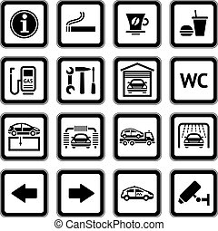 Set pictograms. Car services. Gas station. Symbols Roadside...