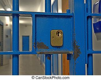 prisión, célula, puerta, cerradura