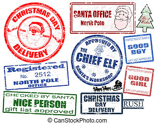 Set of Christmas stamps - Set of isolated grunge Christmas...