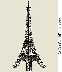Eiffel tower. Vector sketch illustration for design use.