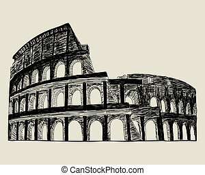 Roman coliseum. Vector sketch illustration for design use.