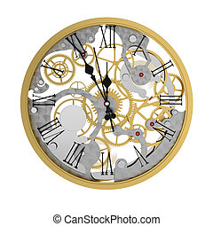 Clock - 3d render of clock mechanism, five minutes to twelve...