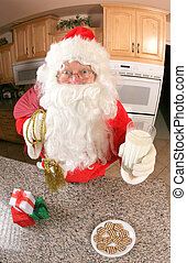 Santa in the kitchen eating cookies - Santa in kitchen...