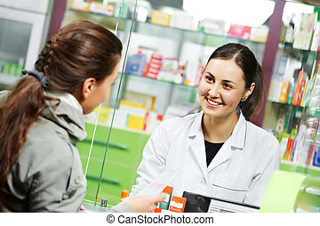 medical pharmacy drug purchase - pharmacist suggesting...