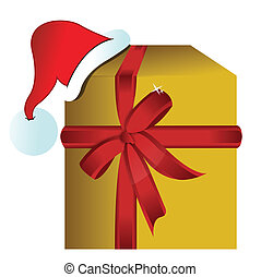 present gift box with christmas hat illustration