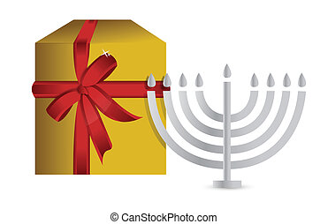 hanukah present gift box illustration