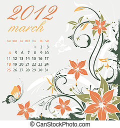 Calendar for 2012 March with Flower, element for design,...