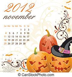 Calendar for 2012 November