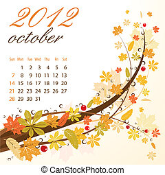 Calendar for 2012 October with Leaves, vector illustration