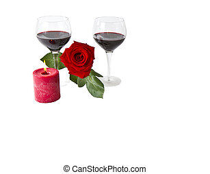 Red Rose Romance - Lovely red rose with red wine and candle...