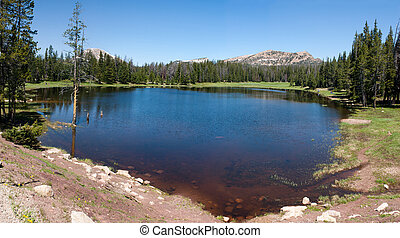 panorama of small lake in Utah above park city - panorama of...