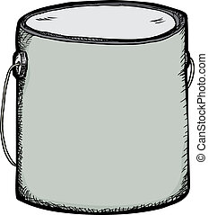 Blank Paint Can - Hand-drawn large generic paint can with...