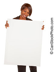 African American Woman Holding a Blank White Sign - An...