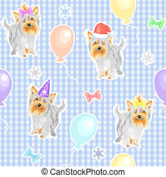 vector seamless pattern with children's holiday dogs