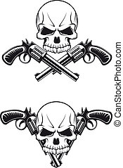 Skull with guns - Danger skull with revolvers for tattoo...