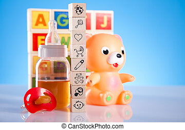 Toys and bear - Colorful alphabet blocks, baby