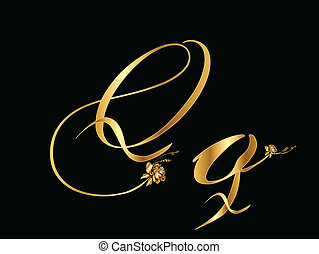 Golden vector letter Q with roses (
