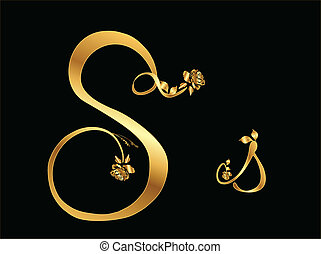 Golden vector letter S with roses collection