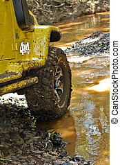 Off road detail - Off road car dirt with mud and water