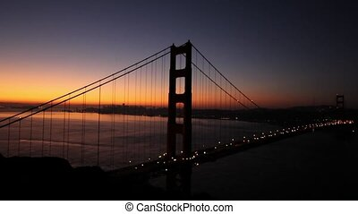 Sunrise in Golden Gate Bridge Over San Francisco Bay