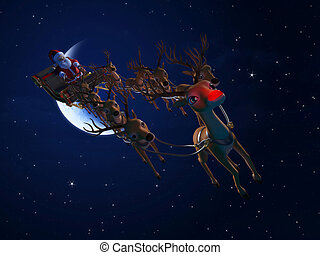 santa with his sleigh - 3d rendered illustration of santa...