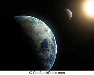 solar system - 3d rendered space scene with moon, sun and...