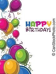 szczęśliwy, Urodziny, balony