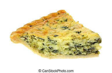 Spinach Quiche Slice - Single slice of spinach quiche on a...