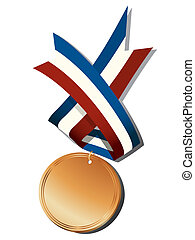 Realistic bronze medal and ribbon, isolated objects over...