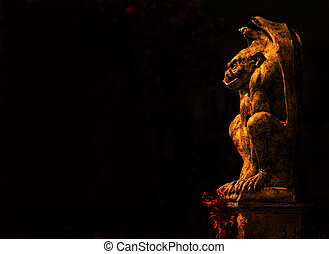 Guardian gargoyle isolated on black background
