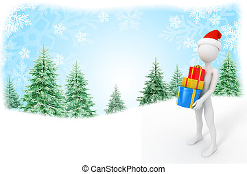 Santa Claus with presents on Christmas background