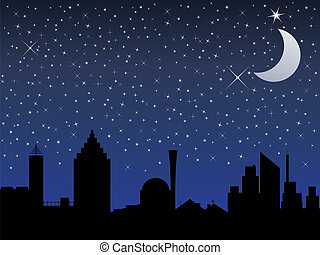 Silhouette of the city and night sky with stars and Moon,...