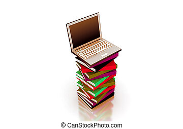 3d laptop on top of a pile of book