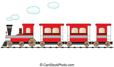 red moving train - cute red train moving on the railroad