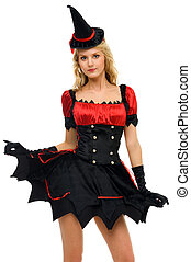 woman in carnival costume.  Witch shape