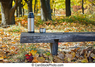Thermos is on the bench in autumn park