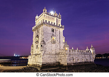 The Tower of Belem by night. Lisbon, Portugal.
