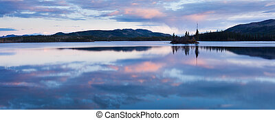 Calm Twin Lakes at Sunset, Yukon Territory, Canada - Calm...