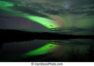 Night Sky Stars Clouds Northern Lights mirrored - Night Sky...
