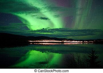 estrellas, norteño, luces, encima, Oscuridad, camino,...