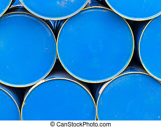 Stack of painted blue oil barrels - Background texture...